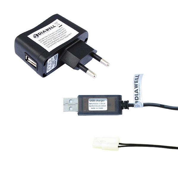 USB Ladekabel Ladegerät für Akku NiCd NiMh 4,8V 250 mA mit Tamiya Stecker